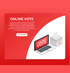 Flat isometric concept voting online e-voting vector