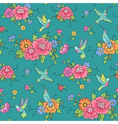 Floral pattern colibri vector