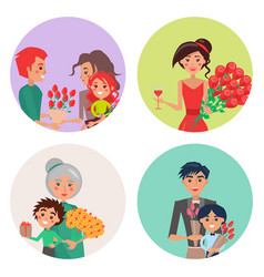 Four icons with flowers and people on womens day vector