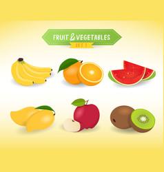fruit vegetable in minimal style set 1 vector image