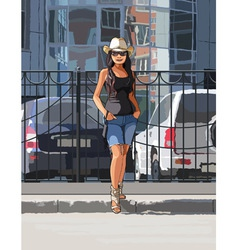 Girl in a cowboy hat on a hot day in the city vector