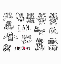 girl power shirt quote lettering set vector image