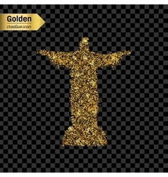 Gold glitter icon of statue isolated on vector image