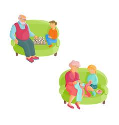 grandparents and grandchildren - knitting chess vector image