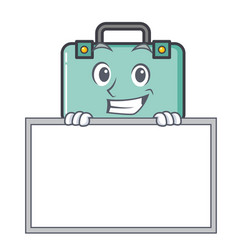 Grinning with board suitcase character cartoon vector