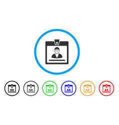 Guy access card rounded icon vector