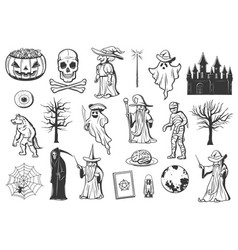 halloween monster icons ghost witch pumpkin vector image