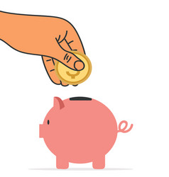 hand putting coin into piggy bank vector image