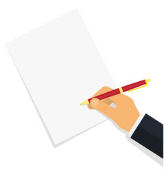 hand writing something on the paper sheet vector image