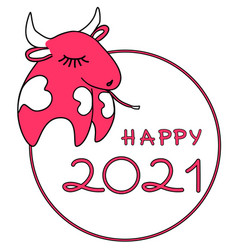 happy 2021 new year with cute symbol ox or cow vector image