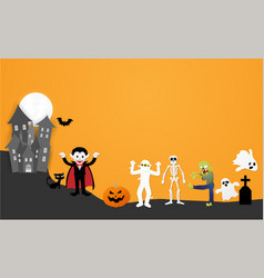 happy halloween night party set of characters vector image