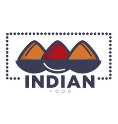 Indian food promotional emblem with bowls of rice vector