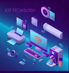 iot technology isometric composition vector image