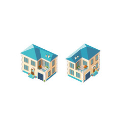 isometric set beige country house vector image