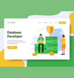 landing page template database developer vector image