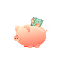 large piggy bank with paper money on an isolated vector image
