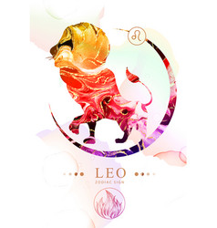 Leo zodiac sign with alcohol ink texture vector