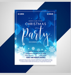 lovely blue shiny christmas flyer design with vector image
