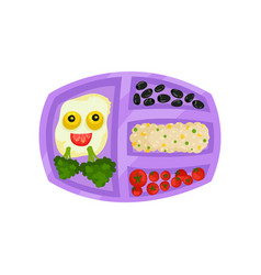 lunch box with tasty meal fried eggs with funny vector image