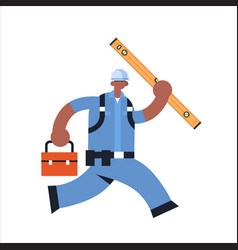 male builder carrying toolbox and carpenter level vector image