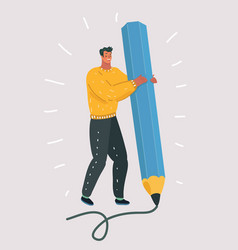 man holding a large pencil artist writing tool vector image