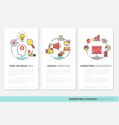 Marketing business brochure template linear vector