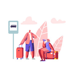 Mature tourist characters stand on bus station vector