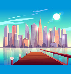 Megapolis city architecture view from wooden pier vector