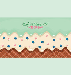 melted flowing ice-cream background cream vector image