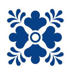 Mexican talavera tile pattern with flower vector