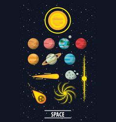 Milky way planets vector