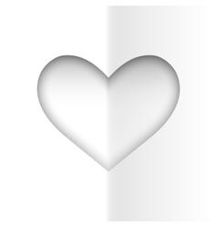 Minimalistic white heart vector