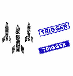 Missiles mosaic and distress rectangle trigger vector