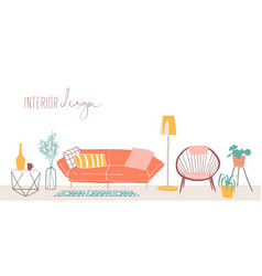 modern home interior design hand drawn vector image
