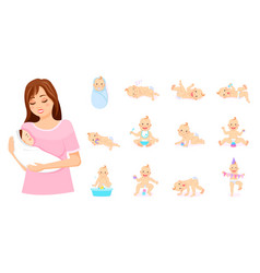 Mother with baby on hands set babies vector
