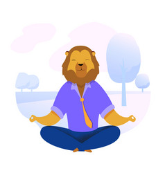 Office worker with lion head meditating clipart vector
