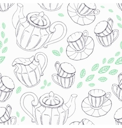 Outline seamless pattern with hand drawn tea vector image