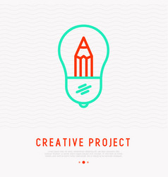 pencil in bulb concept of creativity vector image