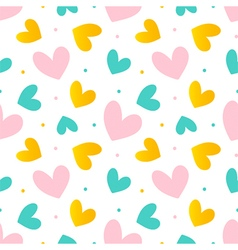 Pink mint green and gold hearts seamless pattern vector