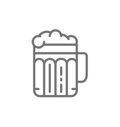 pint beer alcohol glass with drink line icon vector image