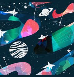 Planets constellations stars hand drawn art vector