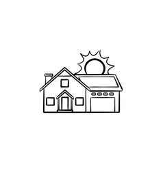 power efficient house hand drawn sketch icon vector image