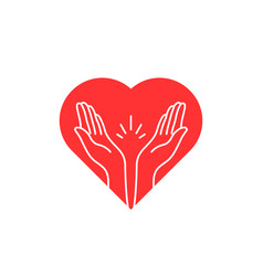 prayer contour hands with heart logo vector image