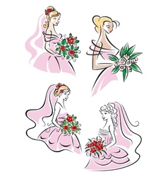 Pretty brides with floral bouquets vector