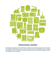 professional cooking equipment round banner vector image
