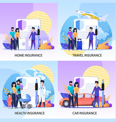 Property health travel insurance services set vector