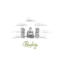reading time concept hand drawn isolated vector image