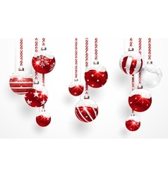 Red Christmas Balls with Snow vector