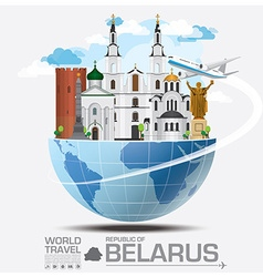 Republic of belarus landmark global travel and vector