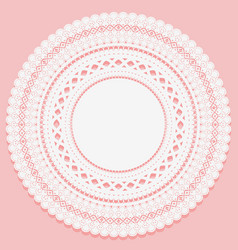 round napkin on a pink background openwork lace vector image